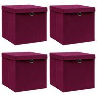 vidaXL Aufbewahrungsboxen mit Deckel 4 Stk. Dunkelrot 32×32×32cm Stoff