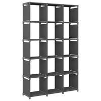 vidaXL Würfel-Regal 15 Fächer Grau 103x30x175,5 cm Stoff