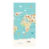 Good Morning Strandtuch WORLDMAP 75×150 cm Hellblau