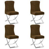 vidaXL Esszimmerstühle 4 Stk. Braun 53x52x98 cm Samt