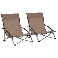 vidaXL Klappbare Strandstühle 2 Stk. Taupe Stoff
