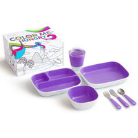 Munchkin 7-tlg. Kinder-Geschirrset Color Me Hungry Lila