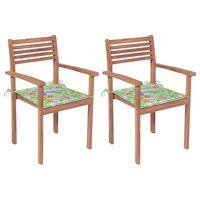 vidaXL Garden Chairs 2 pcs with Leaf Pattern Cushions Solid Teak Wood (43036+314065)