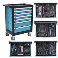 vidaXL Werkstattwagen mit 270 Werkzeugen Stahl Blau