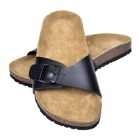 vidaXL Damen Biokork-Sandale mit 1 Schnalle Schwarz Größe 38