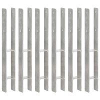 vidaXL Pfostenträger 6 Stk. Silbern 7×6×60 cm Verzinkter Stahl