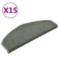 vidaXL Treppenmatten 15 Stk. Dunkelgrün 65x24x4 cm
