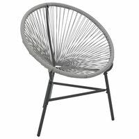 vidaXL Garten-Mond-Stuhl Poly Rattan Grau