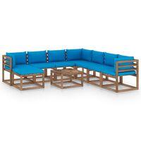 vidaXL 9-tlg. Garten-Lounge-Set mit Kissen Hellblau