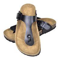 vidaXL Damen Biokork-Sandale im Flip Flop-Design Schwarz Größe 38
