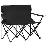 vidaXL Campingstuhl 2-Sitzer Klappbar Stahl und Stoff Schwarz