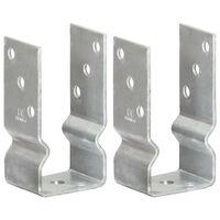 vidaXL Pfostenträger 2 Stk. Silbern 7×6×15 cm Verzinkter Stahl