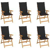 vidaXL Gartenstühle 6 Stk. mit Schwarzen Kissen Massivholz Teak