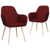 vidaXL Esszimmerstühle mit Armlehnen 2 Stk. Weinrot Stoff