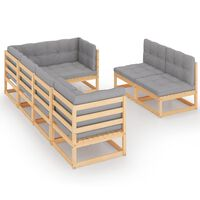 vidaXL 7-tlg. Garten-Lounge-Set mit Kissen Kiefer Massivholz