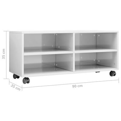 vidaXL TV-Schrank mit Rollen Hochglanz-Weiß 90×35×35 cm Spanplatte
