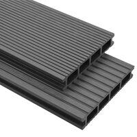 vidaXL WPC Terrassendielen mit Montagezubehör 36 m² 2,2 m Grau