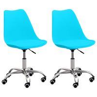vidaXL Bürostühle 2 Stk. Blau Kunstleder