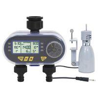 vidaXL Digitale Bewässerungsuhr 2-fach mit Regensensor