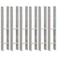 vidaXL Pfostenträger 6 Stk. Silbern 8×6×60 cm Verzinkter Stahl