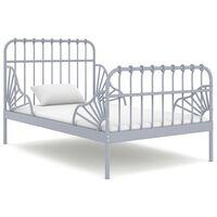 vidaXL Ausziehbett Grau Metall 80x130/200 cm